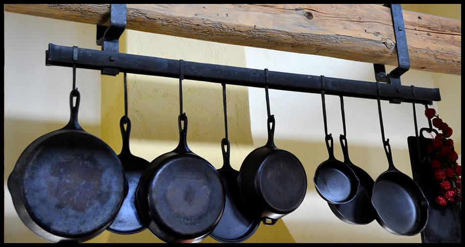 iron-pot-rack-1,custom pot rack, forged iron pot rack, hand made, forged, missoula blacksmith, missoula, montana,forged iron,